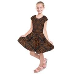 Damask1 Black Marble & Brown Marble Kids  Short Sleeve Dress by trendistuff