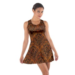 Damask1 Black Marble & Brown Marble (r) Cotton Racerback Dress by trendistuff