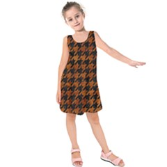 Houndstooth1 Black Marble & Brown Marble Kids  Sleeveless Dress by trendistuff