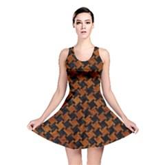 Houndstooth2 Black Marble & Brown Marble Reversible Skater Dress by trendistuff