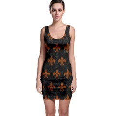 Royal1 Black Marble & Brown Marble (r) Bodycon Dress by trendistuff