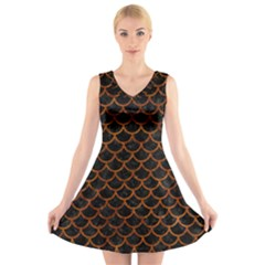 Scales1 Black Marble & Brown Marble V Neck Sleeveless Dress by trendistuff