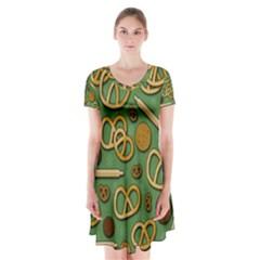 Bakery 4 Short Sleeve V-neck Flare Dress by Valentinaart
