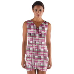 Pink Plaid Pattern Wrap Front Bodycon Dress by Valentinaart
