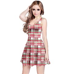 Red Plaid Pattern Reversible Sleeveless Dress by Valentinaart