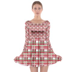 Red Plaid Pattern Long Sleeve Skater Dress by Valentinaart
