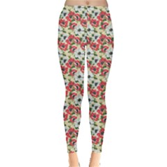 Gorgeous Red Flower Pattern  Leggings  by Brittlevirginclothing