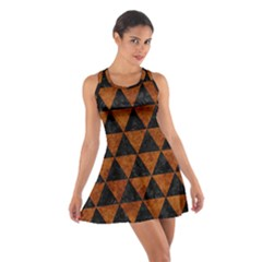 Triangle3 Black Marble & Brown Marble Cotton Racerback Dress by trendistuff