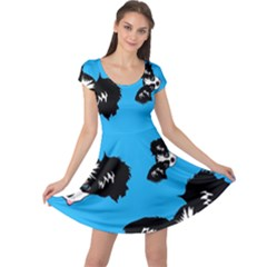Cute Face Dog Funny Detective Cap Sleeve Dresses