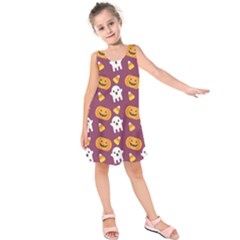 Pumpkin Ghost Canddy Helloween Kids  Sleeveless Dress