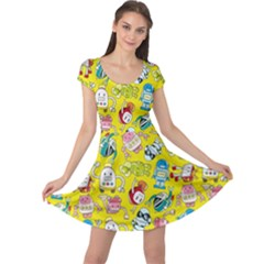 Robot Cartoons Cap Sleeve Dresses by AnjaniArt