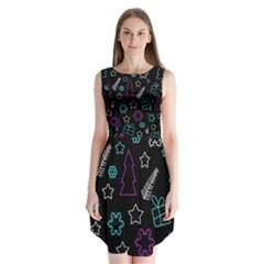 Creative Xmas Pattern Sleeveless Chiffon Dress   by Valentinaart