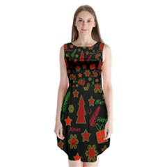 Red And Green Xmas Pattern Sleeveless Chiffon Dress   by Valentinaart