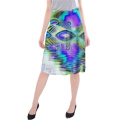 Abstract Peacock Celebration, Golden Violet Teal Midi Beach Skirt by DianeClancy
