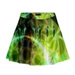 Dawn Of Time, Abstract Lime & Gold Emerge Mini Flare Skirt