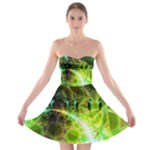 Dawn Of Time, Abstract Lime & Gold Emerge Strapless Bra Top Dress