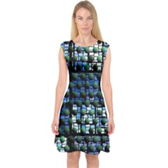 Looking Out At Night, Abstract Venture Adventure (venture Night Ii) Capsleeve Midi Dress by DianeClancy