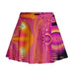 Magenta Boardwalk Carnival, Abstract Ocean Shimmer Mini Flare Skirt