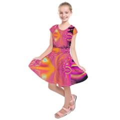 Magenta Boardwalk Carnival, Abstract Ocean Shimmer Kids  Short Sleeve Dress by DianeClancy