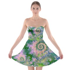 Rose Apple Green Dreams, Abstract Water Garden Strapless Bra Top Dress by DianeClancy