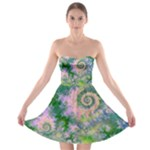 Rose Apple Green Dreams, Abstract Water Garden Strapless Bra Top Dress