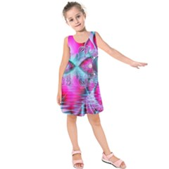 Ruby Red Crystal Palace, Abstract Jewels Kids  Sleeveless Dress by DianeClancy