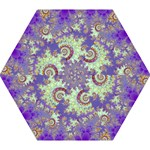 Sea Shell Spiral, Abstract Violet Cyan Stars Mini Folding Umbrellas