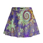 Sea Shell Spiral, Abstract Violet Cyan Stars Mini Flare Skirt