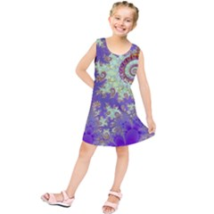 Sea Shell Spiral, Abstract Violet Cyan Stars Kids  Tunic Dress by DianeClancy