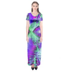 Violet Peacock Feathers, Abstract Crystal Mint Green Short Sleeve Maxi Dress by DianeClancy