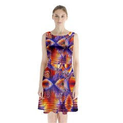 Winter Crystal Palace, Abstract Cosmic Dream (lake 12 15 13) 9900x7400 Smaller Sleeveless Chiffon Waist Tie Dress by DianeClancy