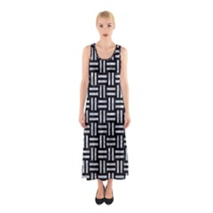 Woven1 Black Marble & Gray Marble Sleeveless Maxi Dress by trendistuff