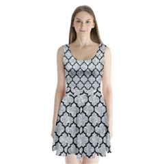 Tile1 Black Marble & Gray Marble (r) Split Back Mini Dress  by trendistuff