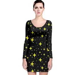 Bright Yellow   Stars In Space Long Sleeve Velvet Bodycon Dress by Costasonlineshop