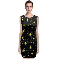 Bright Yellow   Stars In Space Classic Sleeveless Midi Dress by Costasonlineshop