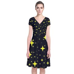 Bright Yellow   Stars In Space Short Sleeve Front Wrap Dress by Costasonlineshop