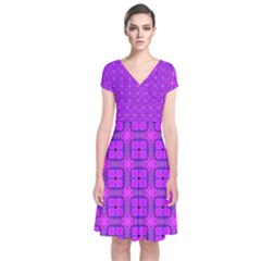 Abstract Dancing Diamonds Purple Violet Short Sleeve Front Wrap Dress by DianeClancy