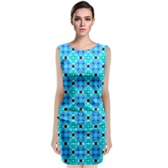 Vibrant Modern Abstract Lattice Aqua Blue Quilt Classic Sleeveless Midi Dress by DianeClancy