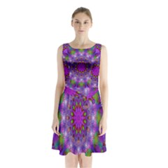 Rainbow At Dusk, Abstract Star Of Light Sleeveless Chiffon Waist Tie Dress by DianeClancy