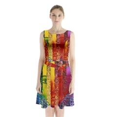 Conundrum I, Abstract Rainbow Woman Goddess  Sleeveless Chiffon Waist Tie Dress by DianeClancy