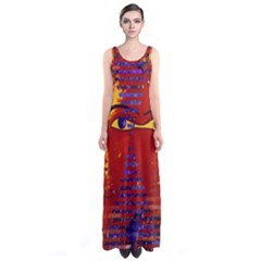 Conundrum Iii, Abstract Purple & Orange Goddess Sleeveless Maxi Dress by DianeClancy