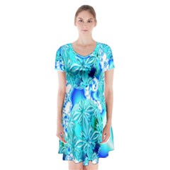 Blue Ice Crystals, Abstract Aqua Azure Cyan Short Sleeve V-neck Flare Dress by DianeClancy