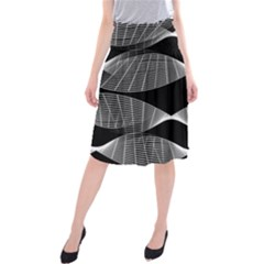 Wavy Lines Black White Seamless Repeat Midi Beach Skirt by CrypticFragmentsColors