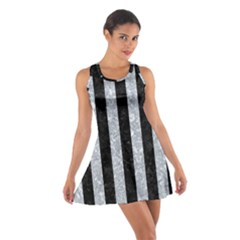Stripes1 Black Marble & Gray Marble Cotton Racerback Dress by trendistuff