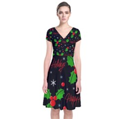 Happy Holidays Pattern Short Sleeve Front Wrap Dress by Valentinaart