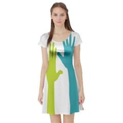 Hand Coloor Short Sleeve Skater Dress