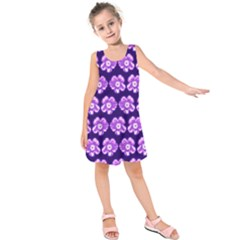 Purple Flower Pattern On Blue Kids  Sleeveless Dress by Costasonlineshop