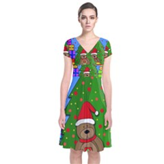 Xmas Gifts Short Sleeve Front Wrap Dress by Valentinaart