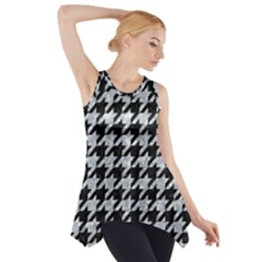 Houndstooth1 Black Marble & Gray Marble Side Drop Tank Tunic by trendistuff