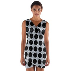Circles1 Black Marble & Gray Marble (r) Wrap Front Bodycon Dress by trendistuff